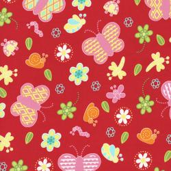 2628-004 Bugsy - Butterflies - Poppy Fabric