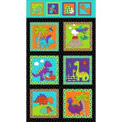 3128-001 Dino Daze - Dino Panel - Multi Fabric