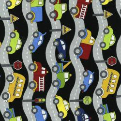 3404-002 Traffic Jam - Roads - Black Fabric
