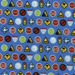 3405-001 Traffic Jam - Signs - Blue Fabric