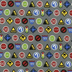 3405-002 Traffic Jam - Signs - Grey Fabric