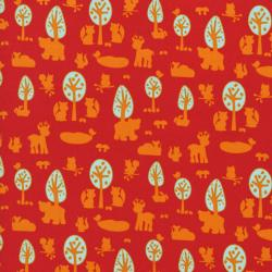 2210-001 Woodland Park - Deer & Friends - Red Fabric