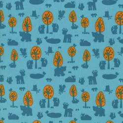 2210-002 Woodland Park - Deer & Friends - Teal Fabric