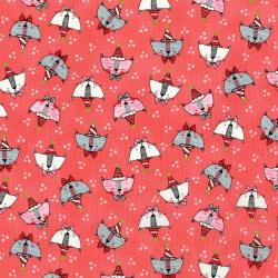 3379-003 Doodle Pop - Doodle Party Cats - Coral Metallic Fabric