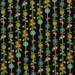 3246-002 Lori's Art Garden - Garden Floral Stripe - Black Fabric