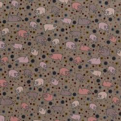 3043-002 High Meadow Farm - Pigs In Mud - Foggy Morning Fabric