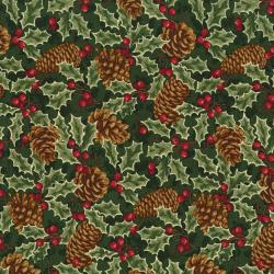 2766-001 Christmas Remembered - Pinecones & Holly - Green Fabric