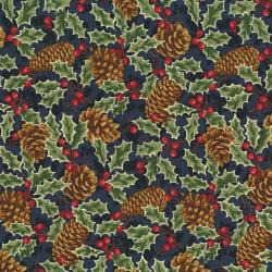 2766-002 Christmas Remembered - Pinecones & Holly - Midnight Blue Fabric