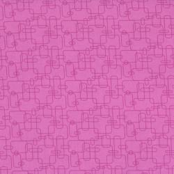 2044-004 Welcome To My World - Rounded Rectangle - Pink/Hot Pink Fabric