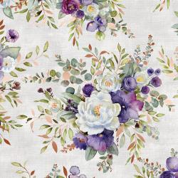 PS100-SI2M Lilac & Sage - Bouquet - Silver Copper Pearl Metallic Fabric