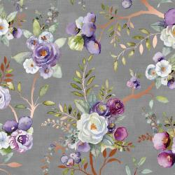 PS101-FO2M Lilac & Sage - Vines - Fog Copper Pearl Metallic Fabric