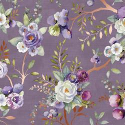 PS101-WI1M Lilac & Sage - Vines - Wisteria Copper Pearl Metallic Fabric