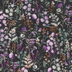 PS102-PE3M Lilac & Sage - Wildflowers - Pebble Copper Pearl Metallic Fabric