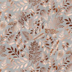 PS103-GY3M Lilac & Sage - Leaves - Gray Copper Pearl Metallic Fabric