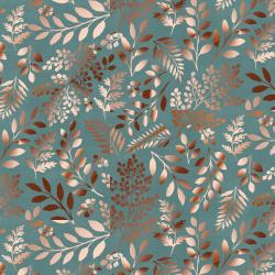 PS103-TE2M Lilac & Sage - Leaves - Teal Copper Pearl Metallic Fabric