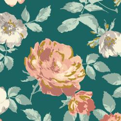 PS200-FO1M Summer Rose - Lorraine - Forest Metallic Fabric