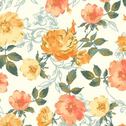 PS201-OR3M Summer Rose - Marietta - Orange Metallic Fabric
