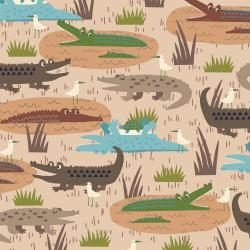RJ1300-LA1 Adventure - Gators - Larch Fabric