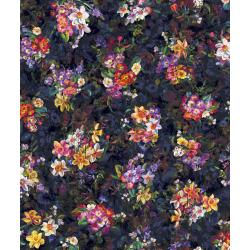 RJ802-ON1D Arcadia - Blooms Full of Grandeur - Onyx Digiprint Fabric