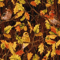 3115-001 Autumn Air - Birds And The Breeze - Mahogany Metallic Fabric