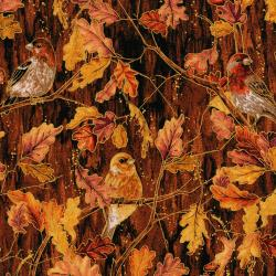 3115-002 Autumn Air - Birds And The Breeze - Redwood Metallic Fabric