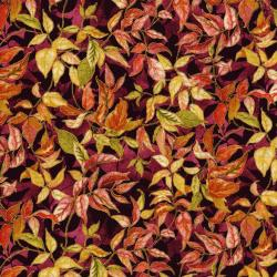 3118-001 Autumn Air - Rustling Leaves - Mulberry Metallic Fabric