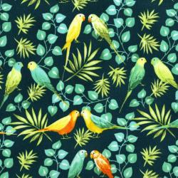 3409-002 Beach Bash - Lovebirds - Lagoon Fabric