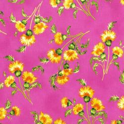 3412-003 Beach Bash - Mini Mums - Dragon Fruit Fabric