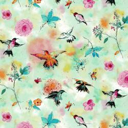 RJ1201-SE1 Bloom Bloom Butterfly - Hummingbird Flight - Seafoam Fabric