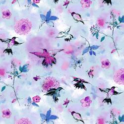 RJ1201-SK2 Bloom Bloom Butterfly - Hummingbird Flight - Sky Fabric