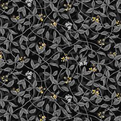 RJ1404-CH3 Citrus Garden - Leaves - Charcoal Fabric