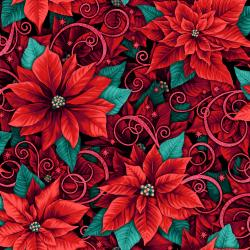 RJ602-BL2M Evergreen - Prized Poinsettias - Blue Spruce Metallic Fabric