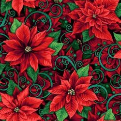RJ602-HO1M Evergreen - Prized Poinsettias - Holly Metallic Fabric