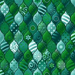 RJ604-BL2M Evergreen - Baubles - Blue Spruce Metallic Fabric