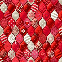 RJ604-CA3M Evergreen - Baubles - Candy Cane Metallic Fabric