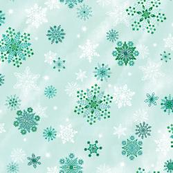 RJ605-WI1M Evergreen - Sparkling Snowflakes - Winter Sky Metallic Fabric