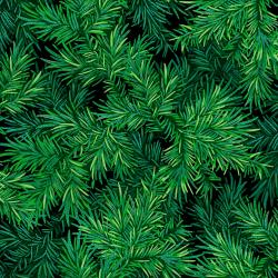 RJ606-MI1M Evergreen - Treeside - Midnight Metallic Fabric