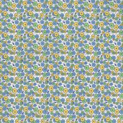 2513-001 Everything But The Kitchen Sink XI - Med Flowers - Blue/Yellow Fabric