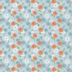 2518-003 Everything But The Kitchen Sink XI - Med Daisy - Lt Blue Fabric