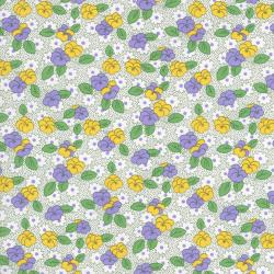 2519-001 Everything But The Kitchen Sink XI - Leaf Flowers - Green/Lavender Fabric