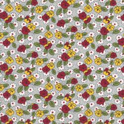2519-002 Everything But The Kitchen Sink XI - Leaf Flowers - Red/Green Fabric