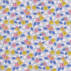 2519-003 Everything But The Kitchen Sink XI - Leaf Flowers - Pink/Blue Fabric