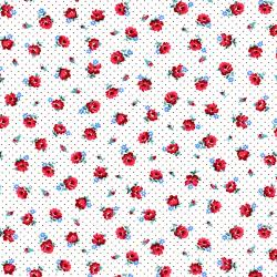 2971-002 Everything But The Kitchen Sink XII - Pindot Posies - Rose Red Fabric