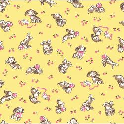 3592-001 Everything But The Kitchen Sink XIV - Playful Puppies - Butter Fabric