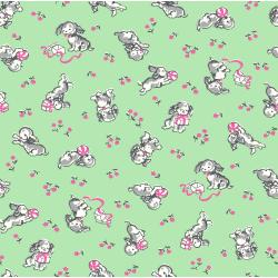 3592-003 Everything But The Kitchen Sink XIV - Playful Puppies - Mint Fabric