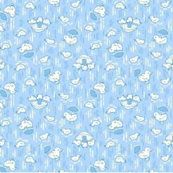 3593-002 Everything But The Kitchen Sink XIV - Cute Chicks - Sky Blue Fabric
