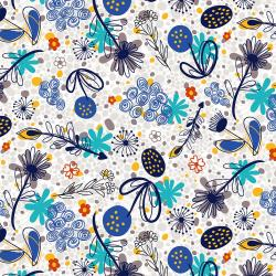 RJ2000-RB2 Flower Doodles - Potpourri - Royal Blue Fabric