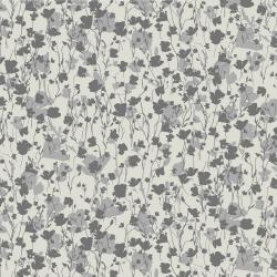 RJ1420-BI4 Gray Matter - Poppy Flower - Black on Ivory Fabric