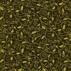 0781-004 Holiday Accents Classics - Holiday Holly Swirl - Green Fabric