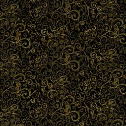 1991-007 Holiday Accents Classics - Holiday Swirl - Black Metallic Fabric